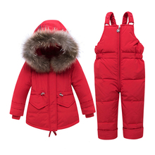 цена на Winter Baby Clothing Sets Infant Hooded Bib Suit Set Of Two Baby Boys Girls Winter Clothing Thicken Warm Hooded Down Jacket