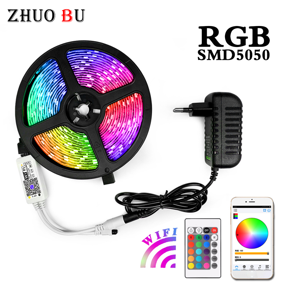 RGB LED Strip Light 15M String Light Waterproof Flexible Light Led Ribbon Tape 5050 Led Lamps With Power Plug Controller