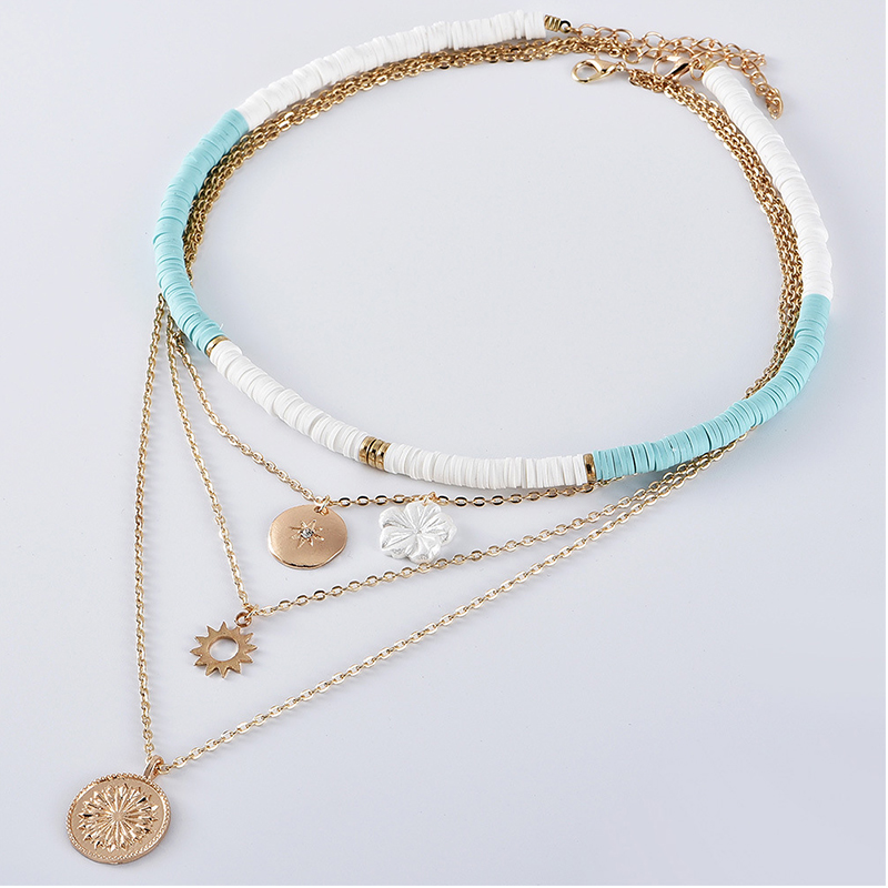 4Pcs/Set Fashion Necklaces Lady Classic Sun Crystal Star Flower Pendant Beaded Multilayer Necklace Bohemian Beach Jewelry