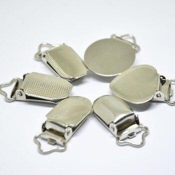 Chupete de Metal plateado para bebés, Clips planos redondos con cierre de lunares en forma de corazón, accesorios para prendas de vestir, 30 unidades