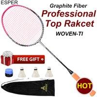 Esper v6 tecido ti profissional v6 raquete de badminton leve fibra carbono completo alta qualidade tensão com corda para adulto