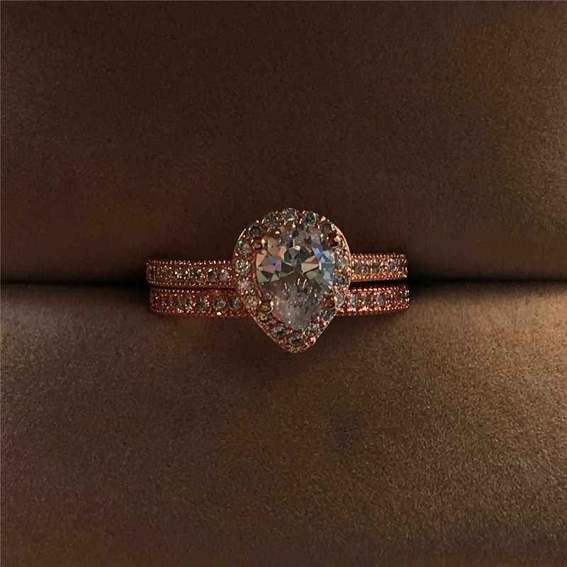 Роскошное женское кольцо с кристаллами и цирконием, винтажное обручальное кольцо из розового золота, кольца для Женский Капля воды Свадебное обручальное кольцо