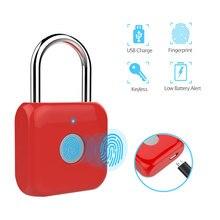 HISMAHO akıllı parmak izi kilidi USB şarj edilebilir kapı kilidi anti hırsızlık güvenlik anahtarsız kilit su geçirmez valiz çantası