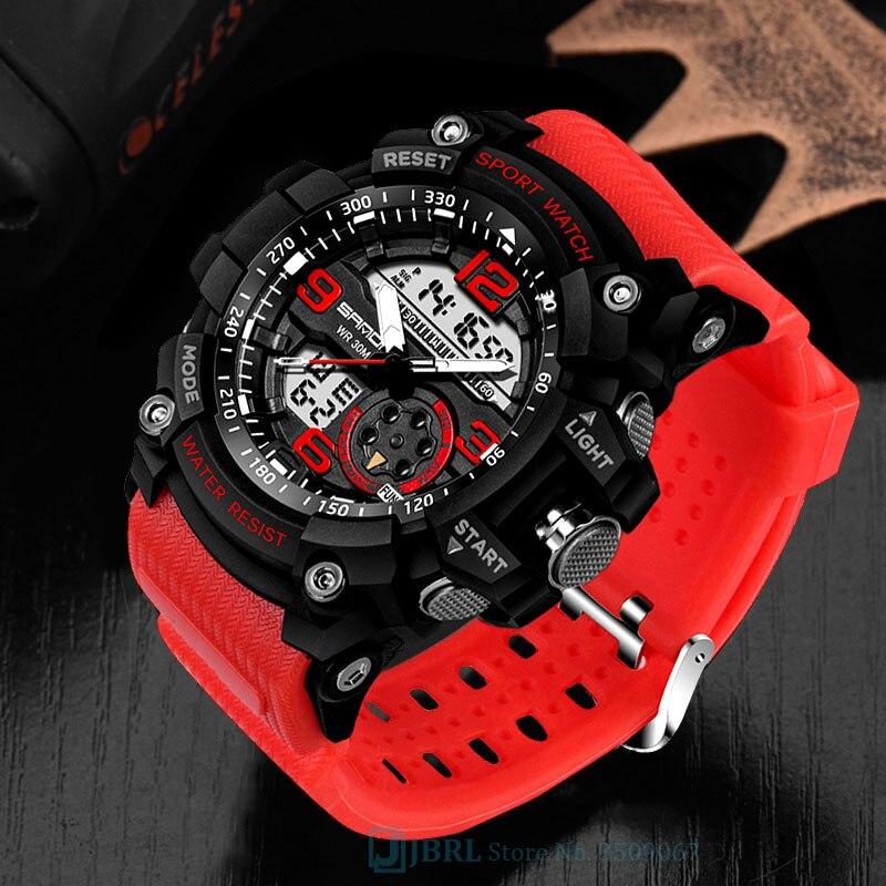 SANDA Brand Wrist Watch Men Watches Military Army Sport New Wristwatch Dual Display Male Watch For Men Clock Waterproof Hours