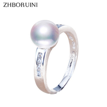 ZHBORUINI 2017 Fashion Pearl Ring 8-9mm AAA Zircon Natural Freshwater Pearl Jewelry 925 Sterling Silver Rings For Women Gift