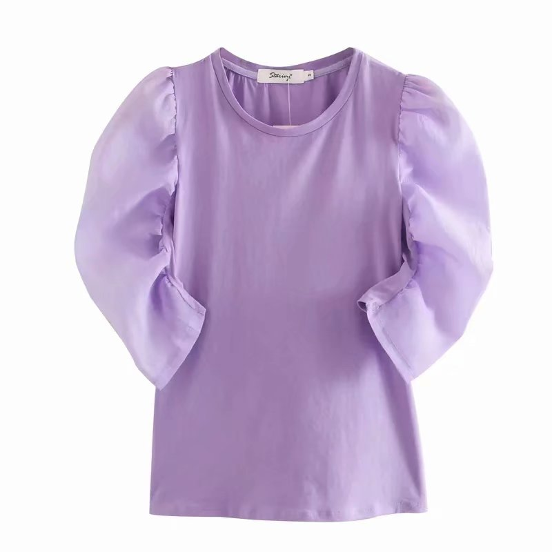 New 2020 Women Fashion Puff Sleeve Patchwork Knitting Blouse Ladies O Neck Solid Color Casual Slim Shirt Chic Blusas Tops LS6575