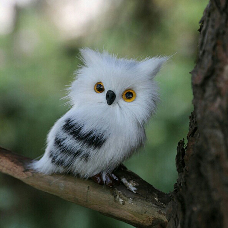 Mini Lovely Artificial White Black Furry Owl Scare Bird Props Gifts Kids Toys Creative Home Garden Decoration Supplies NEW