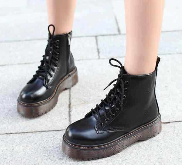 Kadın motosiklet yarım çizmeler kış kadın günlük çizmeler Lace Up deri ayakkabı bayanlar parti botları moda platformu siyah