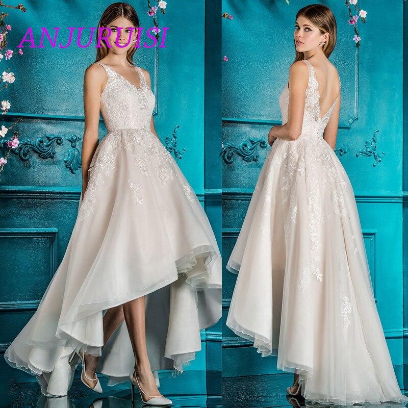 ANJURUISI haut/bas robe de mariée Boho princesse robes de mariée dentelle Appliques Tulle robe de mariée dos nu Trouwjurk Vestido Noiva