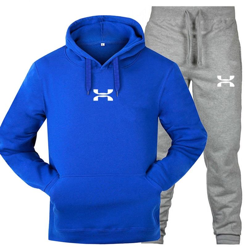 2020 New Hooded Thicken Men's Casual Sportswear Men's 2-Piece Sweatshirt Hoodie Top + Pants Set