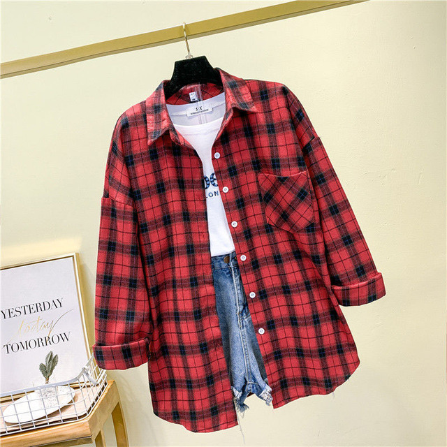 Women Spring Summer Style Blouses Shirts Lady Casual Long Sleeve Turn-down Collar Plaid Printed Blusas Tops ZZ0750 6