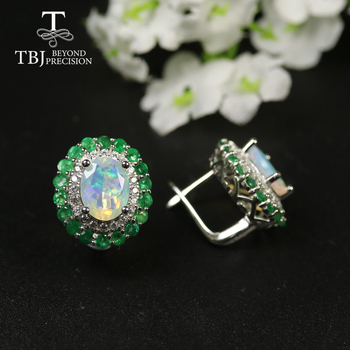 2020 new natural emerald opal clasp earring 925 sterling silver fine jewelry for women best gift precious gemstone jewelry tbj tbj natural zambia emerald gemstone pendant in 925 sterling silver tree leaf pendant for women girl as anniversary birthday gift