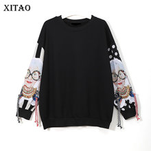 XITAO שחור ארוך שרוול חולצות נשים טלאי הדפסת ציצית בסוודרים Harajuku הסווטשרט בסוודרים בגדי נשים חדש XWW2734