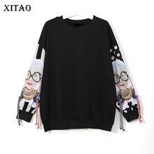 XITAO czarny długi rękaw bluzy kobiety Patchwork druku Tassel sweter Harajuku sweter z kapturem kobiet ubrania nowy XWW2734