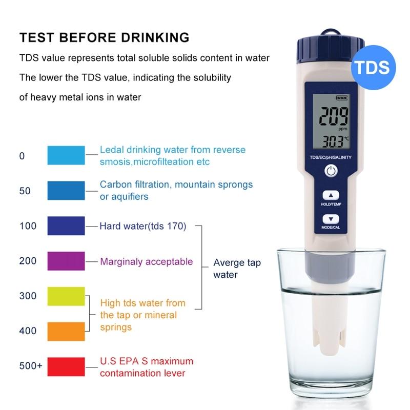 Tools : Professional Digital Water Tester 5 In 1 PH TDS EC Salinity Temperature Tester Pen Waterproof Multi-Function Meter