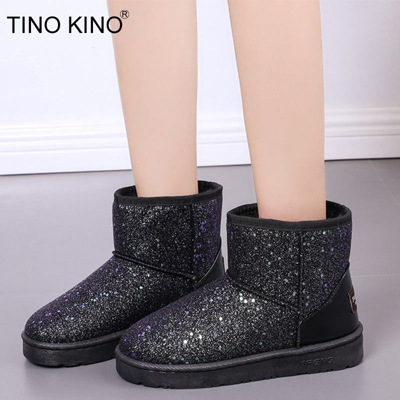 2019 Women Glitter Snow Boots Short Plush Woman New Warm Soft Ladies Ankle Boot Winter Fur Bling Platform Female Casual Shoes