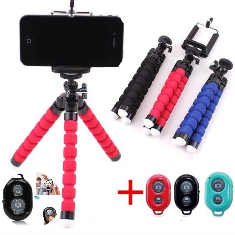 Suporte de tripé polvo flexível para telefone móvel, controle remoto para monopé de suporte câmera de foto selfie