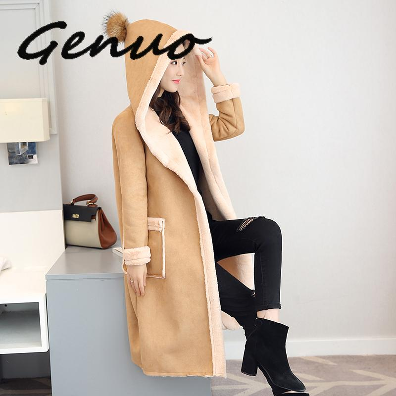 Genuo New Ladies Leather Jacket Faux Suede Coats For Women Autumn Winter Motorcycle Hooded Faux Long Sleeve Fake Sheepskin Coat