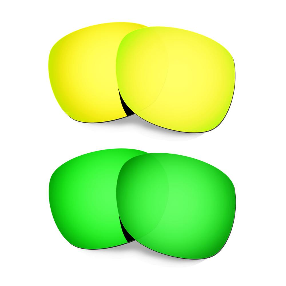 HKUCO For Garage Rock Sunglasses Replacement Polarized Lenses 2 Pairs - Gold&Green
