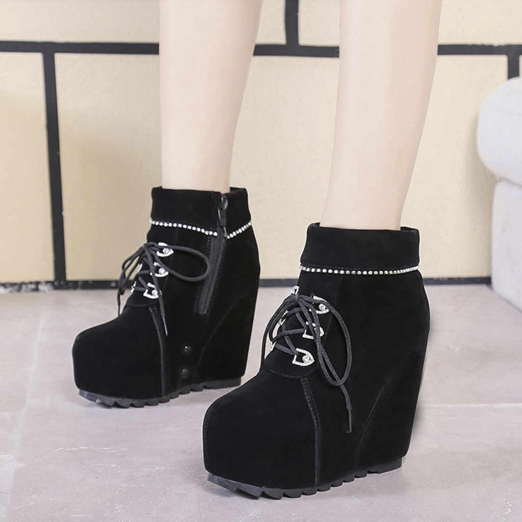 Botas de Otoño Invierno para mujer, zapatos de cuña de punta redonda con cremallera de gamuza, botas cortas casuales para mujer, zapatos sencillos para mujer