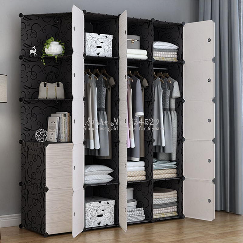21%Wardrobe Simple Cloth Wardrobe Plastic Household Imitation Wood Cabinet Simple Modern Economic Folding Assembly Dormitory