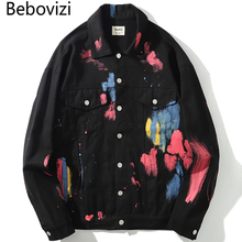 Bebovizi 2019 Hip Hop Men Paint Splash Denim Jacket Graffiti Coats Streetwear Fashion Man Black White Hipster Outwear