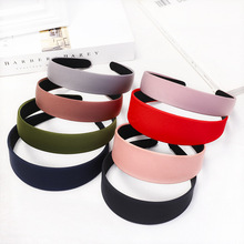 2Pcs 3/4cm Solid Color Simple Headbands for Women Fashion Fabric Covered Resin Hairband Hair Accessories Band