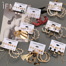 IF ME Vintage Earrings Set for Women Pearl Circle Drop Earring Gold Acrylic Geometric Metal Tassel Butterfly Trendy Jewelry 2021