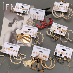IF ME Vintage Earrings Set for Women Pearl Circle Drop Earring Gold Acrylic Geometric Metal Tassel Butterfly Trendy Jewelry 2021