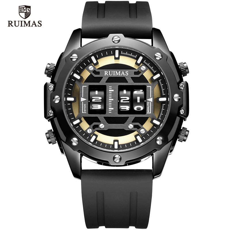 MEGIR & RUIMAS Military Sport Watches Men Roller Quartz Watch Luxury Waterproof Silicone Strap Wristwatch Man Relogio Mascilino
