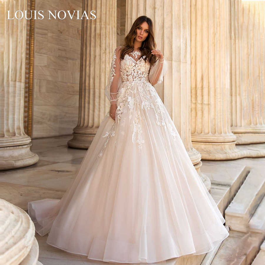 Louis Novias Langarm Hochzeit Kleid Exquisite Stickerei Sweep Pinsel Zug Illusion V-ausschnitt Hochzeit Kleider Vestido De Noiva