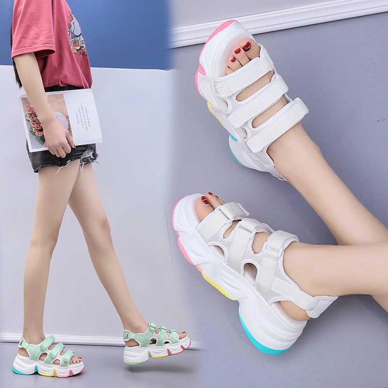 MBR kuvvetleri yaz kadın sandalet takozlar platformu bayan ayakkabıları gökkuşağı sandalet Zapatos Mujer plaj ayakkabısı kadınlar beyaz sandalet kadın