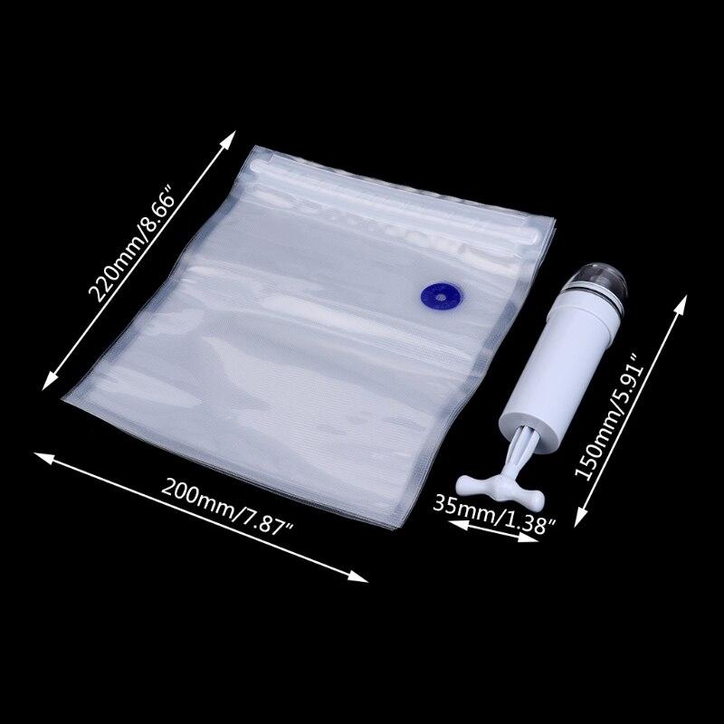 5Pcs Packaging Bag+Food Vacuum Sealer Storage Saver Hand Pump Kitchen Machine 50PB