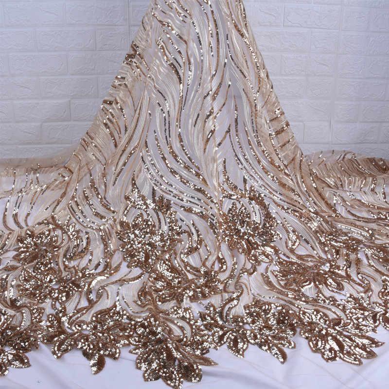 Trabalho pesado lantejoulas francês malha tecido de renda bordado africano net tule tecido renda com lantejoulas para festa casamento vestido f1737