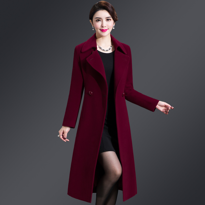 New Women Wool Blends Long Coat Autumn Winter 2019 Fashion Sashes Woolen Jacket Slim Outerwear Female