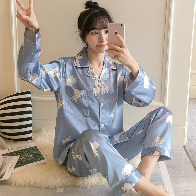 New Lazy Style 2020 WAVMIT Short Sleeve Pajamas Silk Set 2Pcs Set Women Sleepwear Sexy Homewear for Women Pyjamas Set Short Pant|Pajama Sets| - AliExpress
