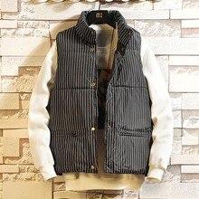 M-3XL полосатая мужская куртка без рукавов, пальто Homme, зимний повседневный мужской утепленный жилет с хлопковой подкладкой, мужской жилет, плюс одежда