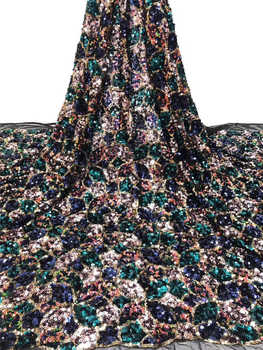 Nigerian wedding lace  fabric 2020Popular African Sequince tulle lace fabric For Spring Summer long Dresses