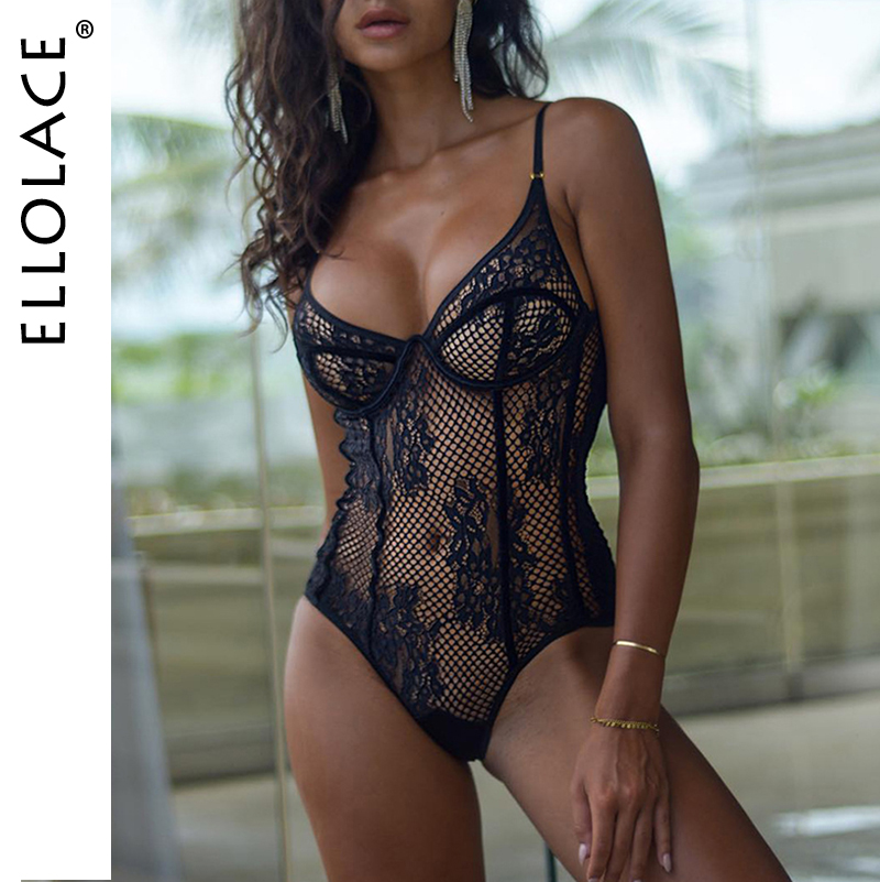 Ellolace Mesh Embroidery Bodysuit Women Fitness Backless Rompers Bodycon Overalls 2019 New Female Lace Black 2019 New Bodys