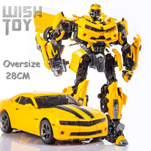 WJ Transformation MasterPiece Robot Oversize 28CM MPM03 MPM 03 Yellow Bee Movie Alloy With Big War Hammer Action Figure Toys