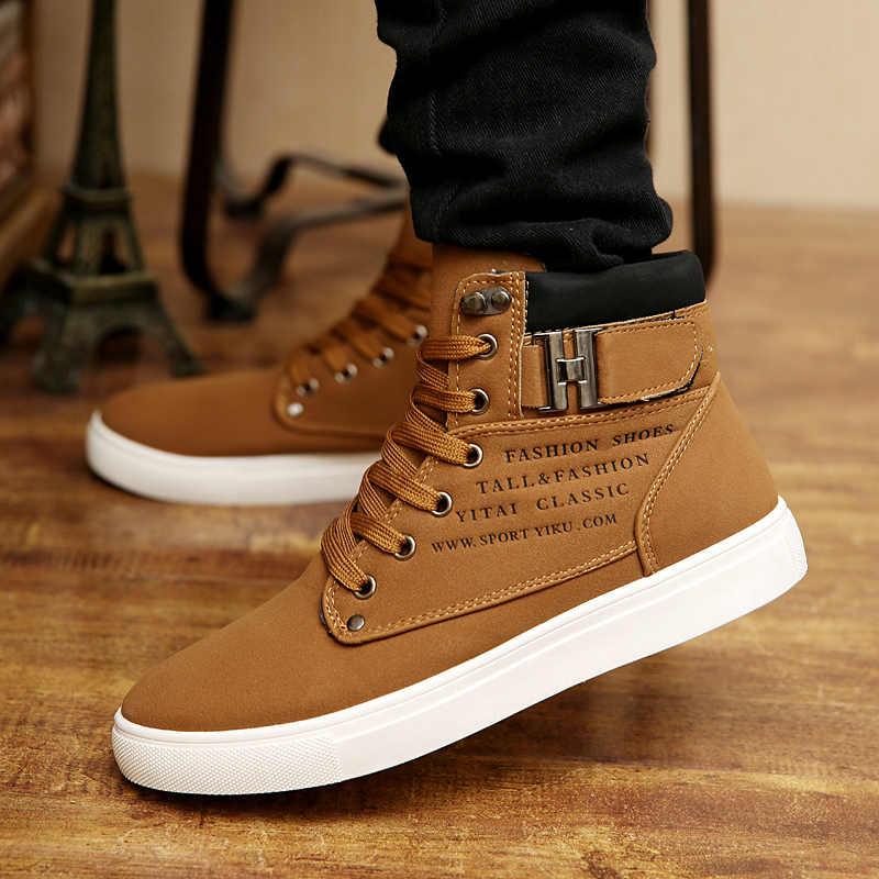 Sapatilhas dos homens 2019 Outono Inverno Quente de Couro Fosco Sapatos masculinos High Top Tamanho Grande Tamanho 47 Retro Casuais botas dos homens do Sexo Masculino