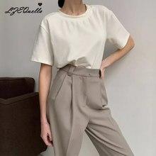 Lzequella verão tricotado básico sólido camiseta feminina casual algodão manga curta camisetas femininas nova moda XS-3XL