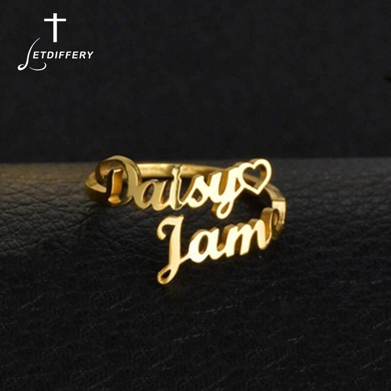 Letdiffery personalizd podwójna nazwa pierścionki dla par ze stali nierdzewnej regulowane kobiety obrączki ślubne unikalne prezenty zaręczynowe