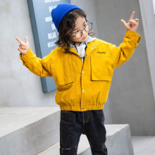2019 New Spring Autumn Solid Windbreaker Coat for Girls Baseball Pocket Jacket Outwear Child Coat Girls Clothing недорого