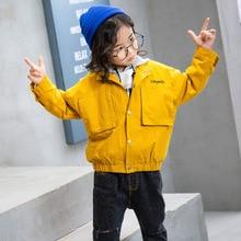 2019 New Spring Autumn Solid Windbreaker Coat for Girls Baseball Pocket Jacket Outwear Child Coat Girls Clothing