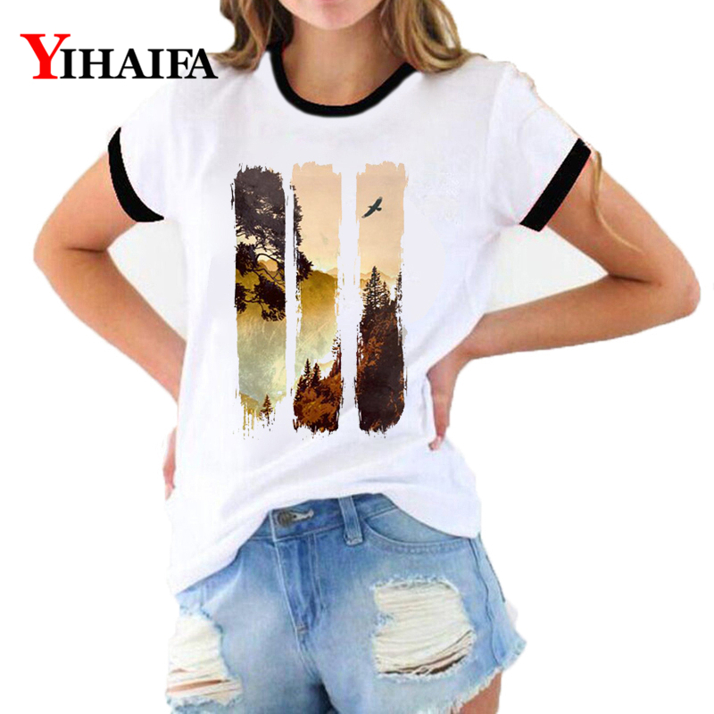 3D T Shirts Women Forest Print Tees Simple Graphic Summer Short Sleeve Ladies O-Neck Casual Tops Woman Clothes