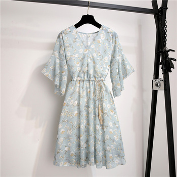 Spring Summer Chiffon Dress Women Knee Length V-Neck Print Dresses Sweet Ruffle Sleeeve Slim New Casual Drawstring Women Dress 3