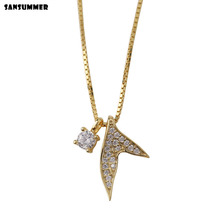 Sansummer 2019 New Hot Fashion Pendant Zircon S925 Silver Fishtail Personality Glittering Elegant Necklace For Women Jewelry