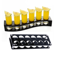 Acrylic/Wooden Shot Glass Holder Display Rack Bar Wine Drinks Cup Storage Carrier Flight Tasting Serving Tray Single Row 6 Holes