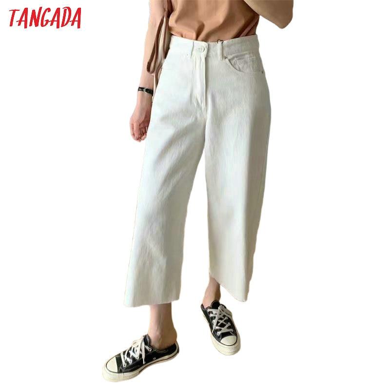 Tangada 2020 Summer Women Beige Wide Leg Jeans Pants Trousers Pockets Zipper Female Denim Crop Pants 5B10